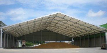 Canopy for storing bulk grain